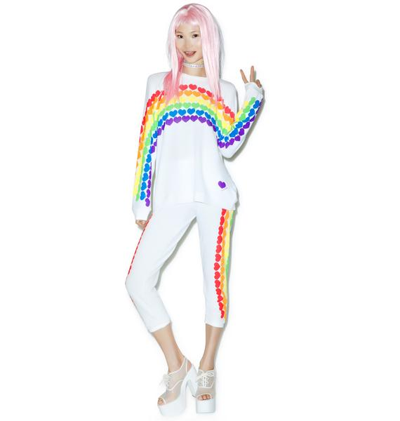 Lauren Moshi Lovie Rainbow Heart Boyfriend Sweatshirt