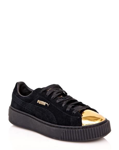 Gold Tip Suede Platform Sneakers
