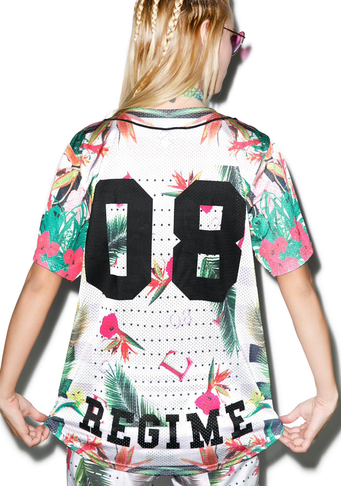 Civil Clothing Floral Mesh Baseball Jersey
