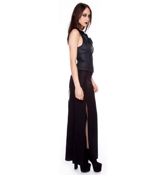 Widow Shimmer Stretch Halter Lace Back Vest