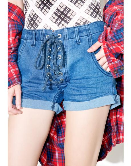 Miss Me Lace-Up Shorts