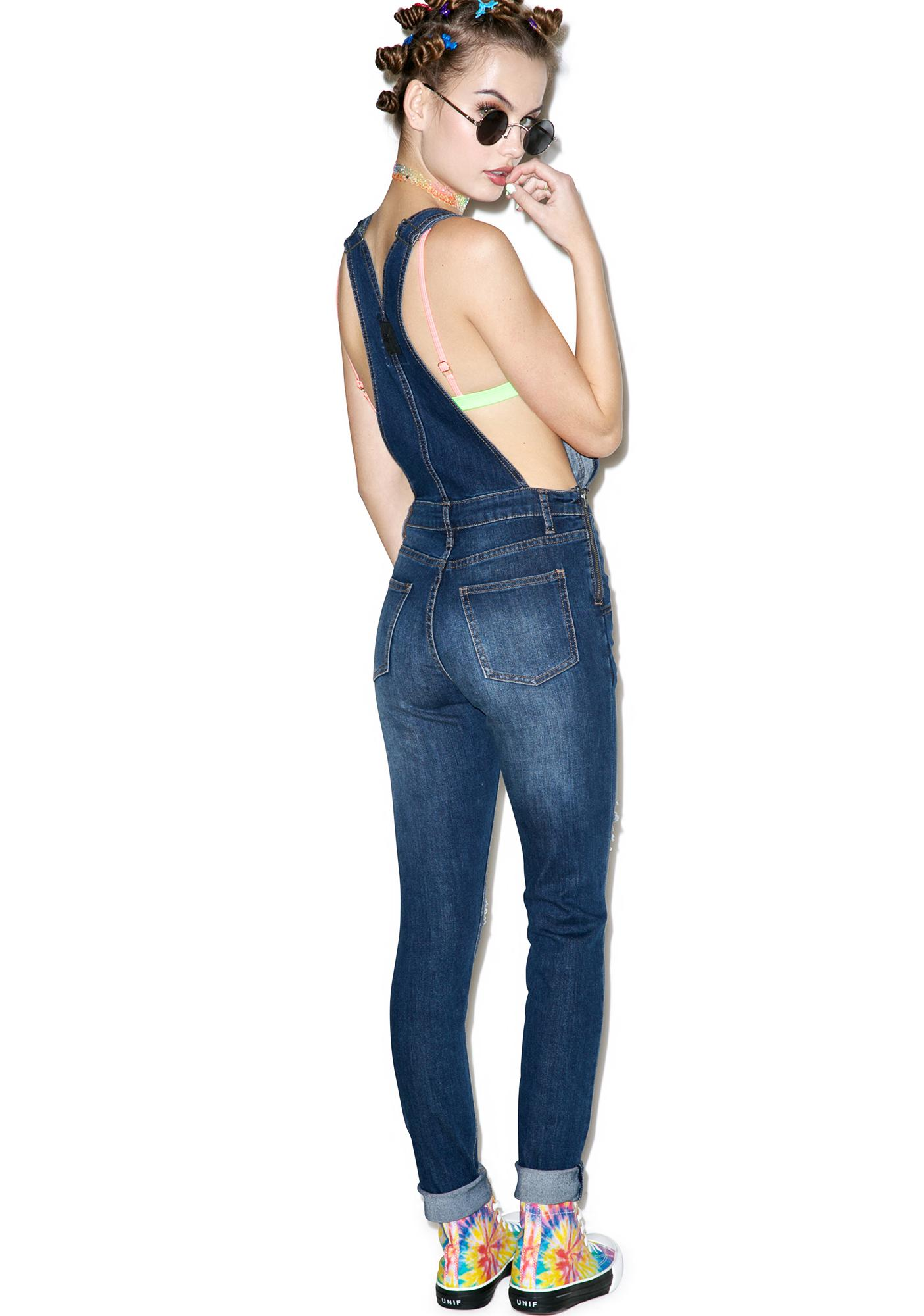 Cheap Monday Carbon Blue Distressed Dungarees