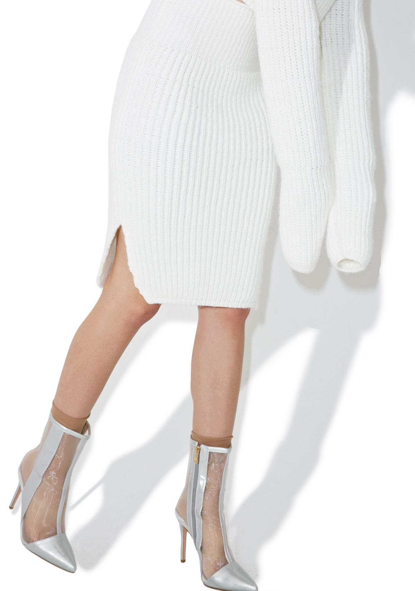 Maria ke Fisherman Creme Knit Skirt