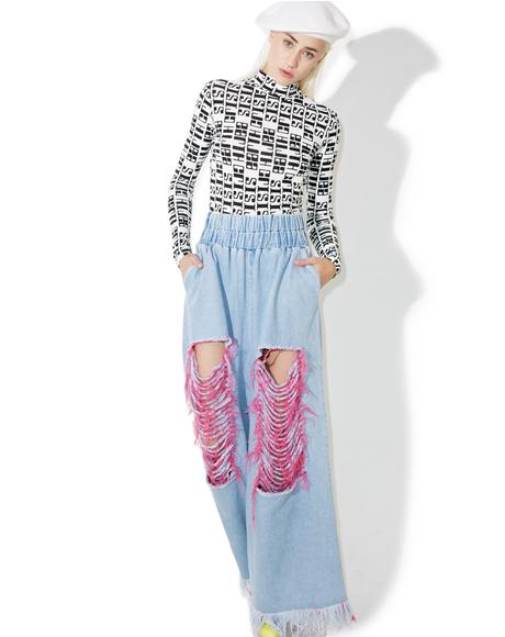 Destroyed Pinky Wide Leg Pants