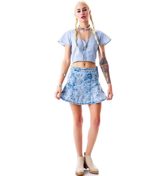 Lighten Up Denim Skirt