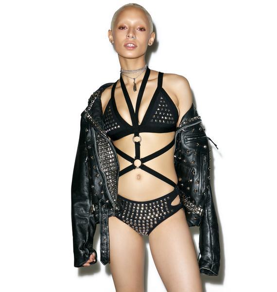 Hazmat Design Vintage Deadstock Die Die My Darling Studded Bodysuit