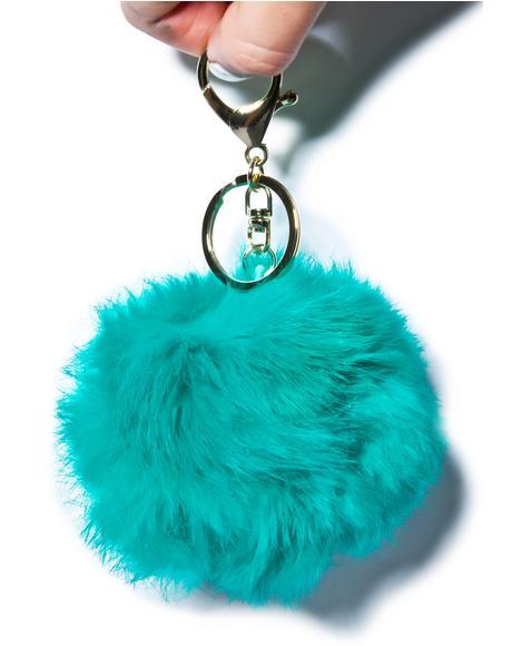 Clueless Teal Fluffy Pom Keychain