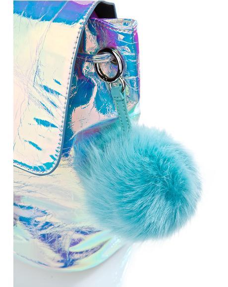 Mint Pom Pom Keychain