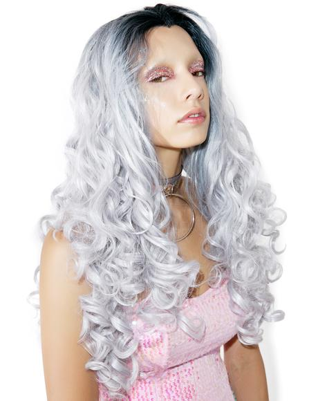 Silver Root-Fade Curly Wig