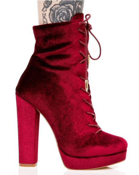Wine Alea Lace-Up Boots