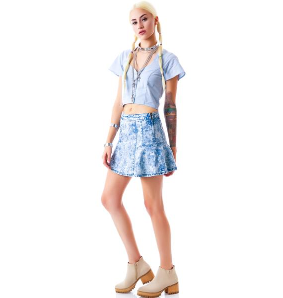 Lighten Up Denim Skirt