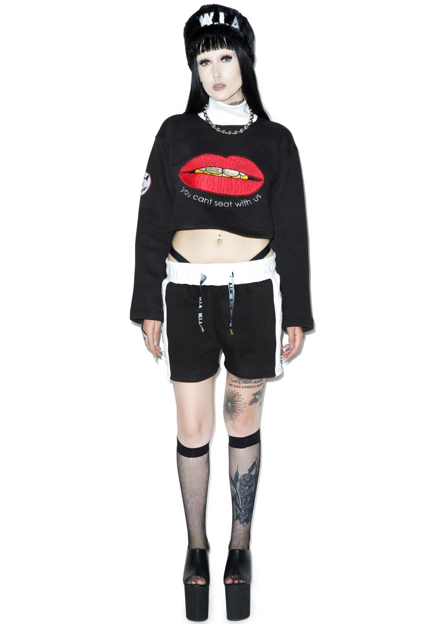 W.I.A X Dolls Kill Lips Cropped Sweater