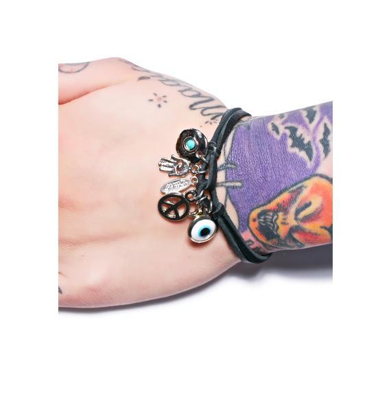 Ettika Charmed Deerskin Leather Bracelet