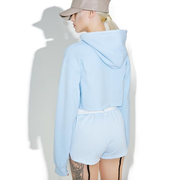 Untitled & Co Baby Blue Cropped Hoodie