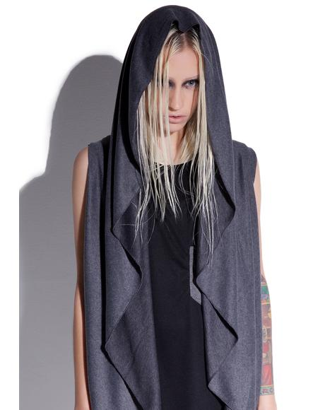 Dark Shadow Sleeveless Hooded Cardigan