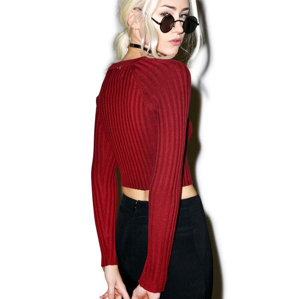 For Love & Lemons Back To Basics Maroon Crop Top
