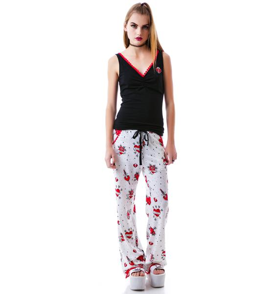 Sourpuss Clothing Lonely Hearts PJ Set