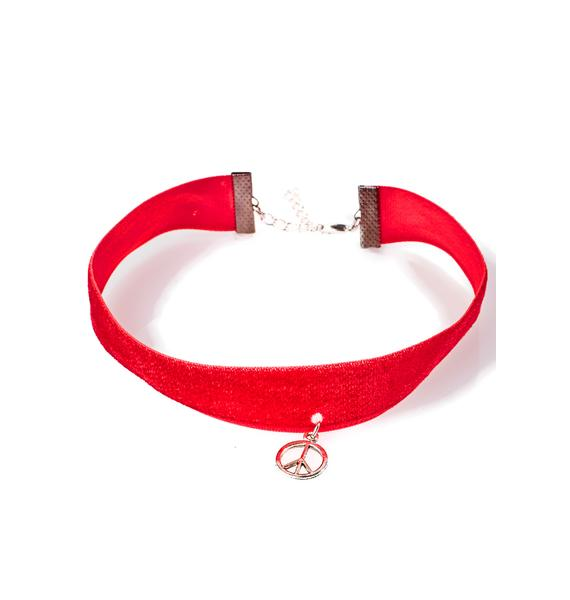 Camp Collection Red Velvet Peace Choker