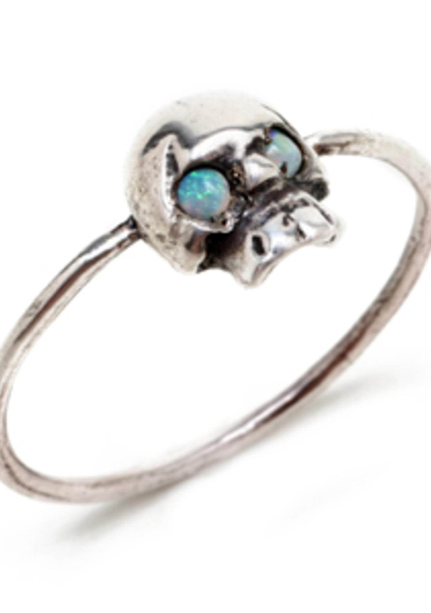 Opal Eyes Mini Skull Ring