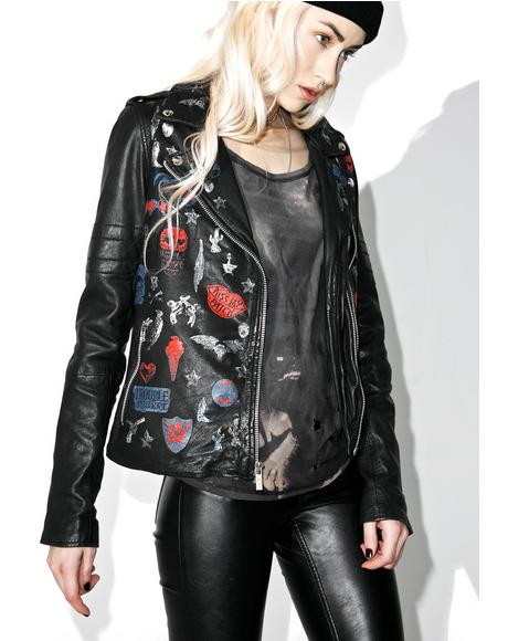 Perfecto Patched Leather Biker Jacket