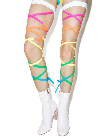 X Dolls Kill Neon Rainbow Baby Leg Wraps
