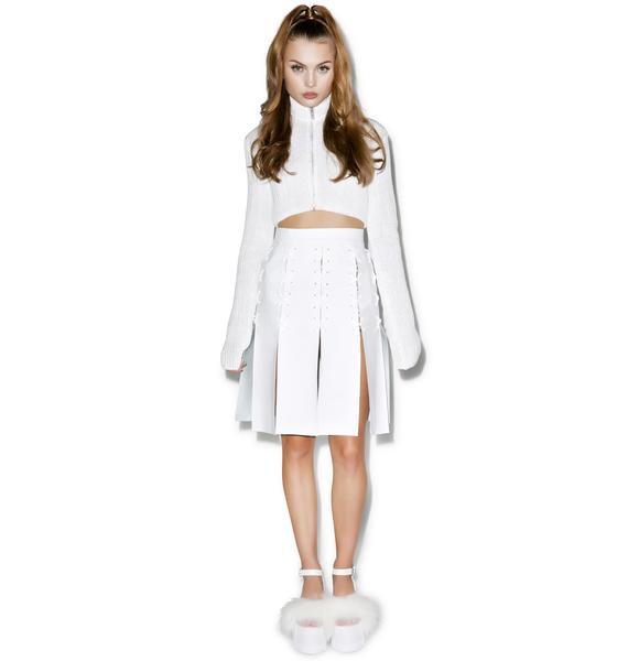 Maria ke Fisherman Cross Eyelet Patent Leather Skirt