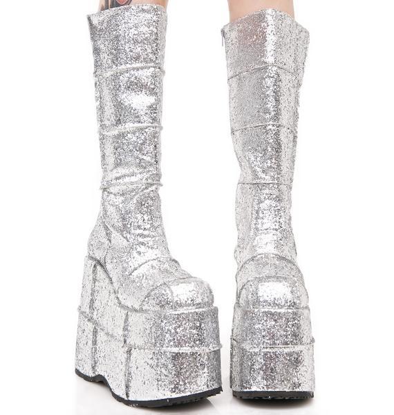 Demonia Glitter Stack Platform Boots