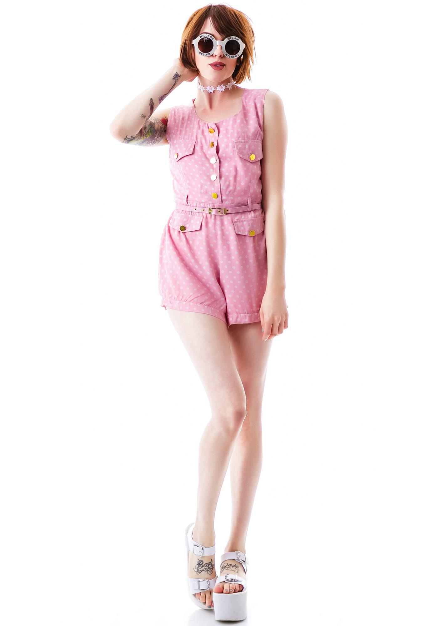 Hello Dottie Belted Shorts Romper