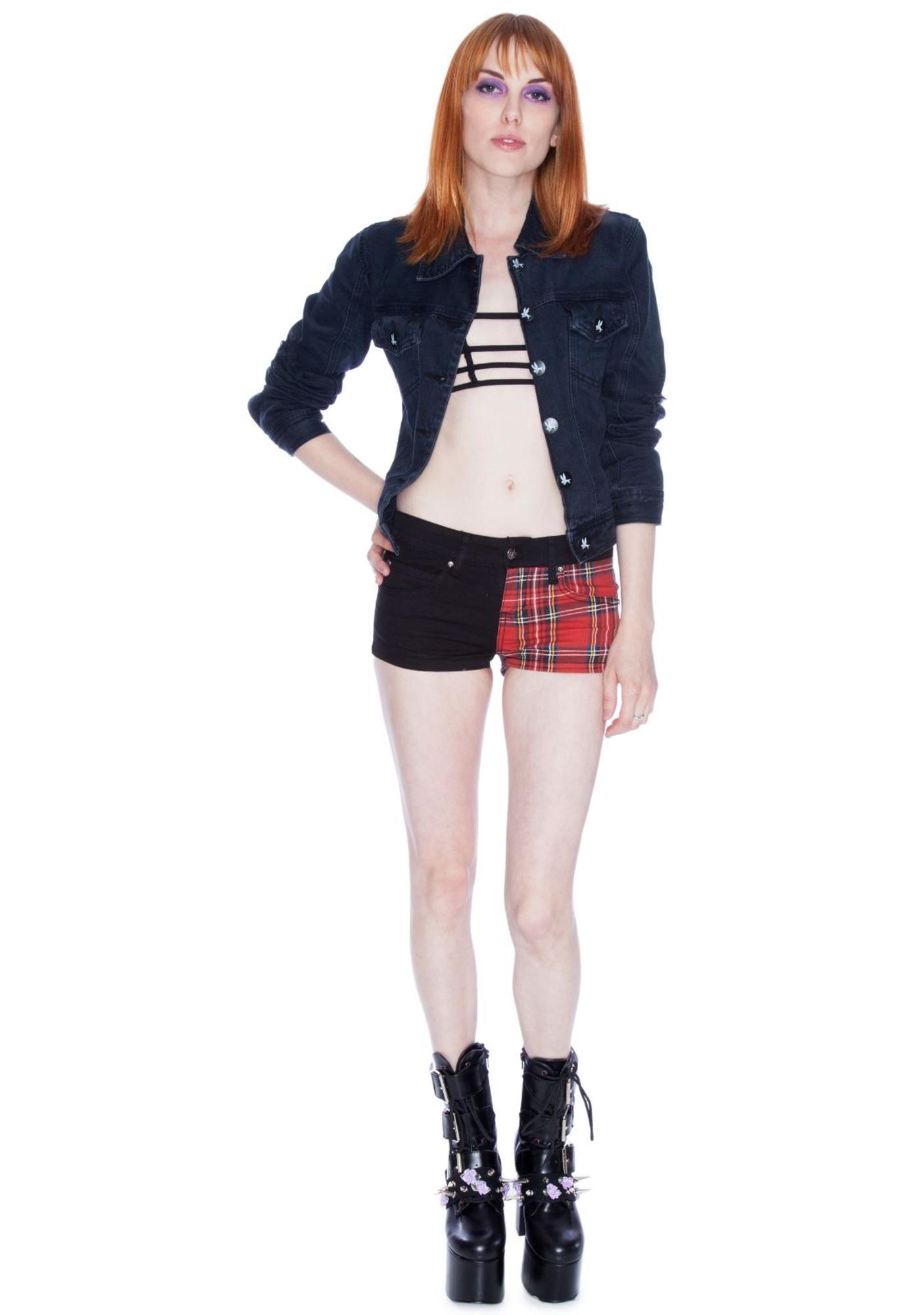 Tripp NYC Plaid Split Shorts