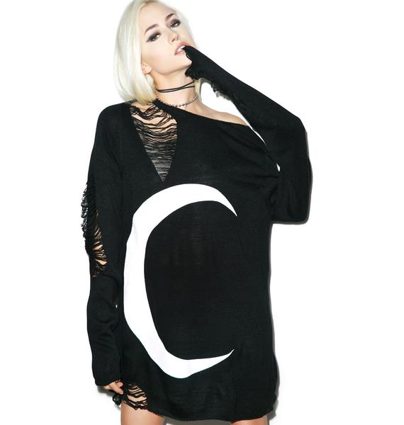 Killstar Luna Distressed Knit Sweater