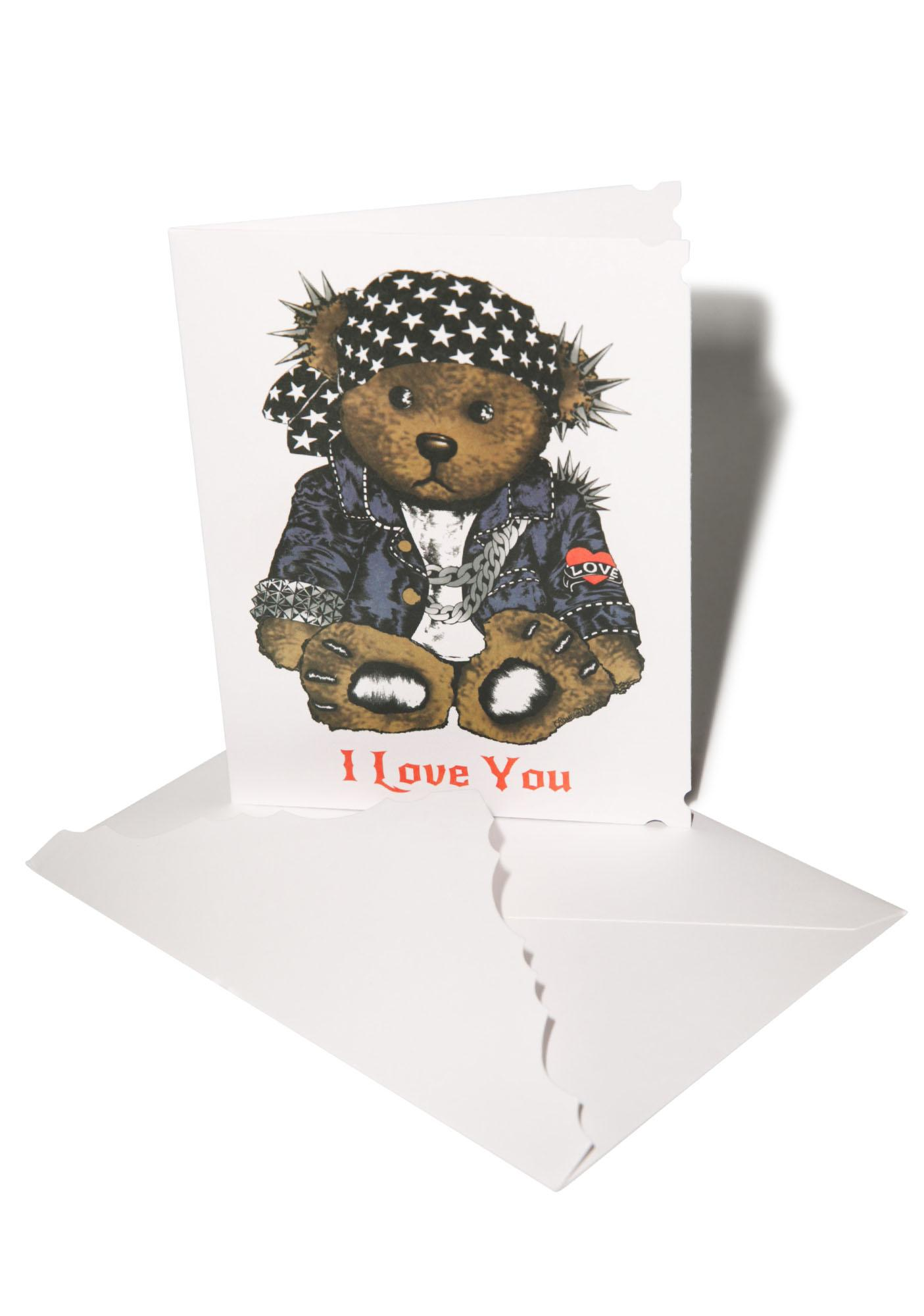 Lauren Moshi I Love You Rocker Teddy Greeting Card