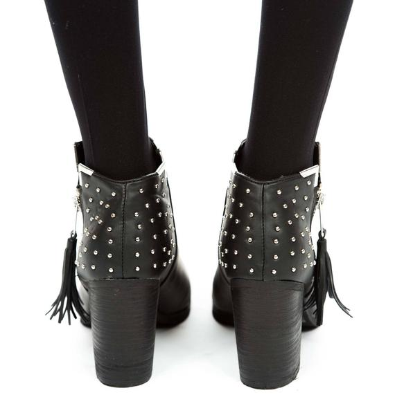 Fullu Black Studded Ankle Boots