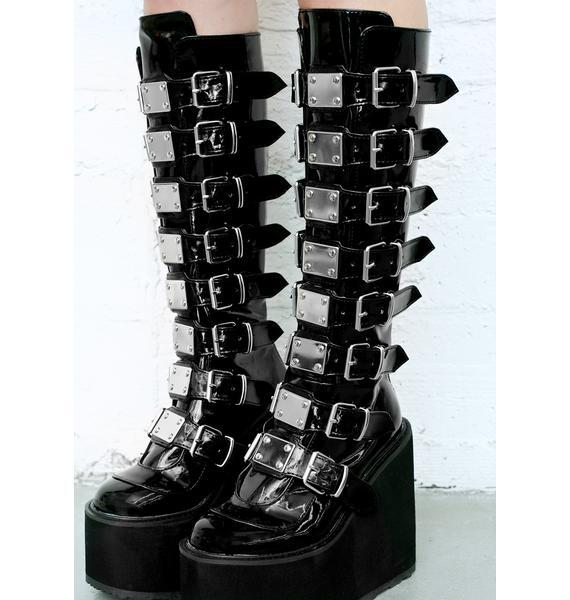 Demonia Patent Trinity Boots