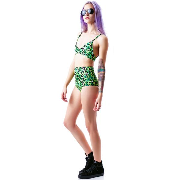 UNIF Weed Zippy Bikini Top