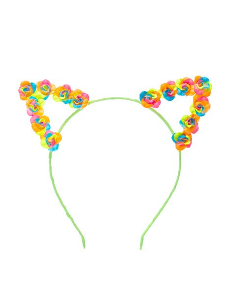 Neon Floral Kitty Ears