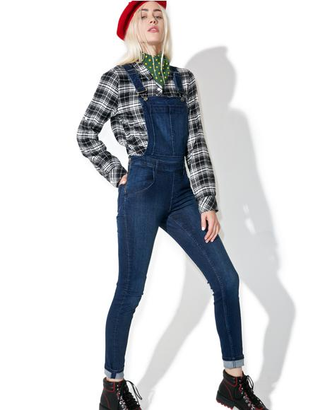 Ink Blue Skinny Dungarees
