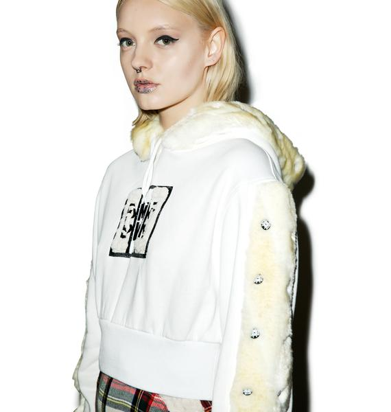 Maria ke Fisherman Make The Fur Fly Crop Hoodie