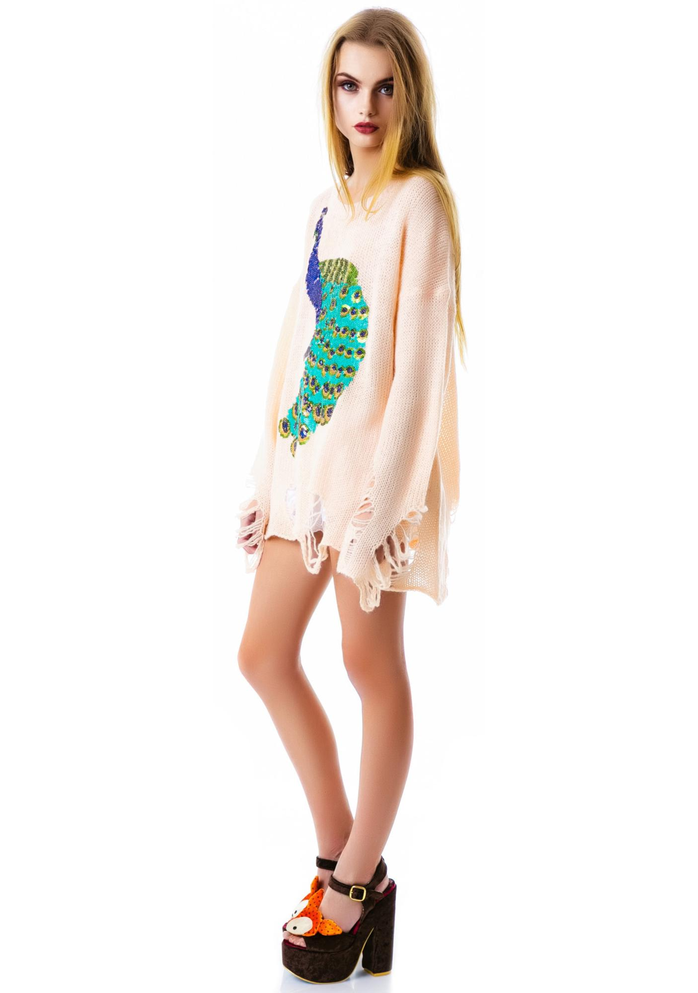 Wildfox Couture Sequin Peacock Lennon Sweater