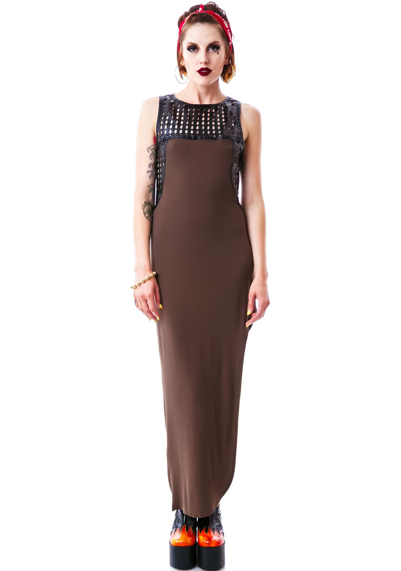 Apocalyptic Veggie Leather Trim Maxi Dress