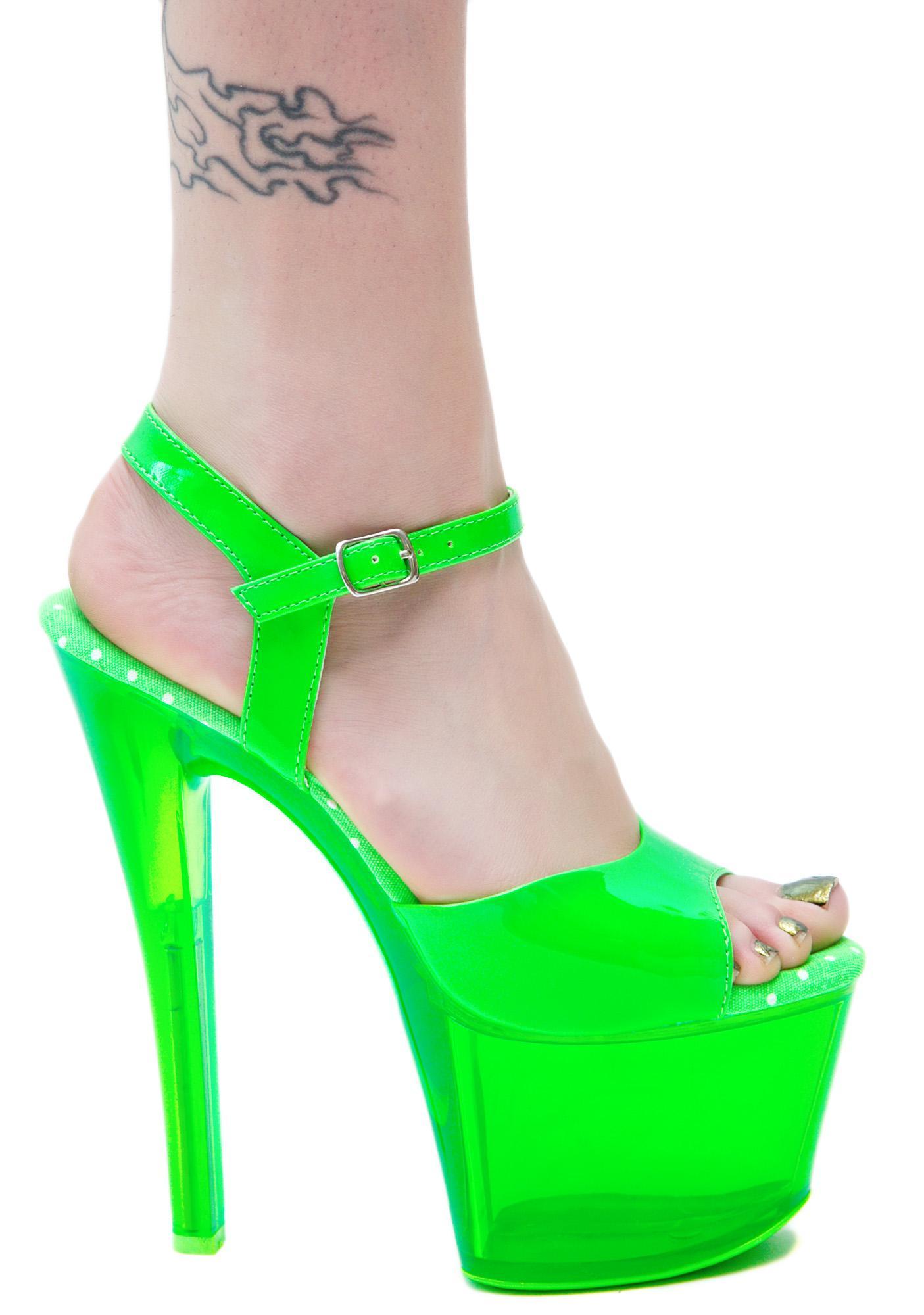 Neon Green Platform Heels