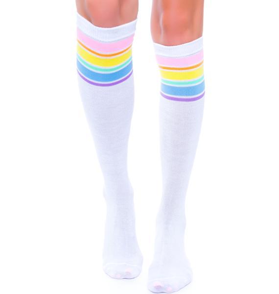 Vintage Rainbow Varsity Knee Socks