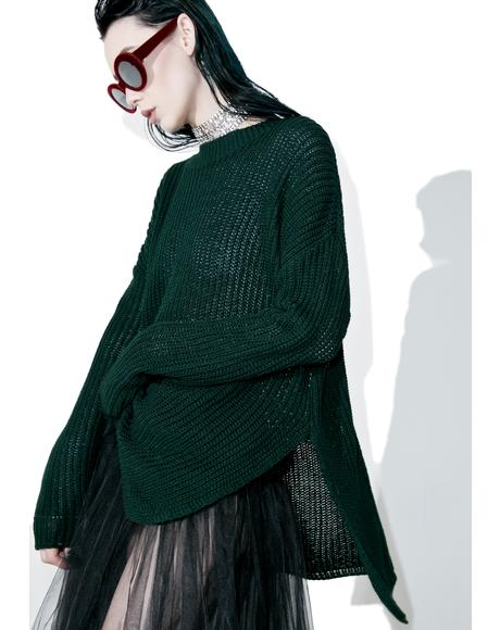 Collaboration High-Lo Split Sweater
