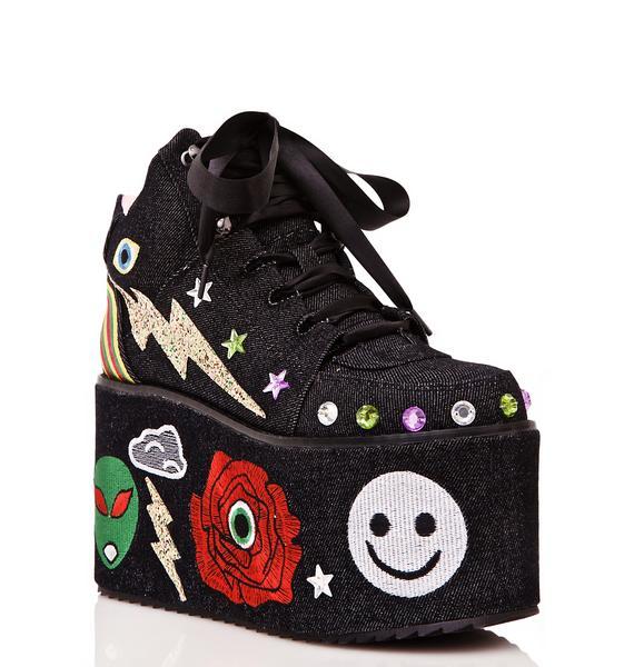 Y.R.U. Qozmo Partii Patched Platform Sneakers