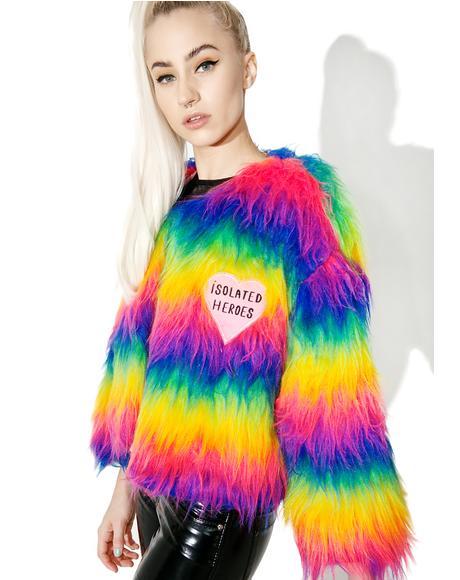 Rainbow Faux Fur Mini Coat