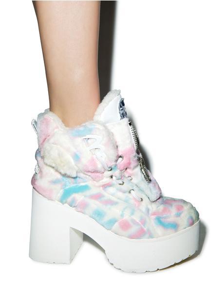 X Buffalo Platform Cotton Candy Fur Boots