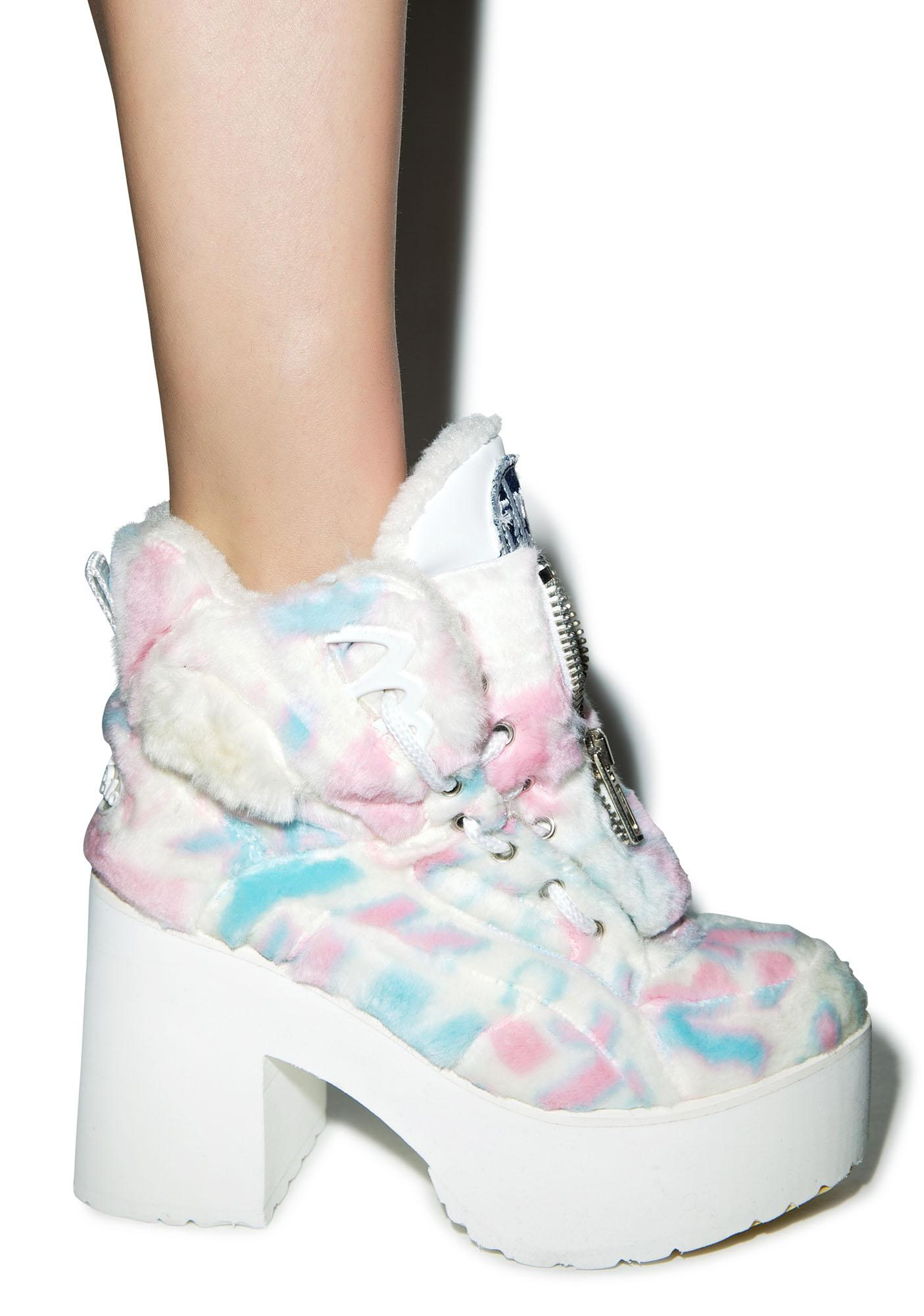 Maria ke Fisherman X Buffalo Platform Cotton Candy Fur Boots