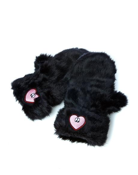 Black Heart Mittens