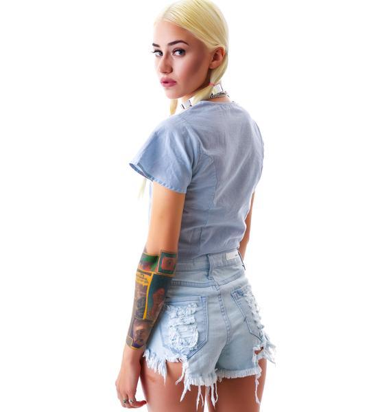 Lighten Up Destroyed Denim Shorts
