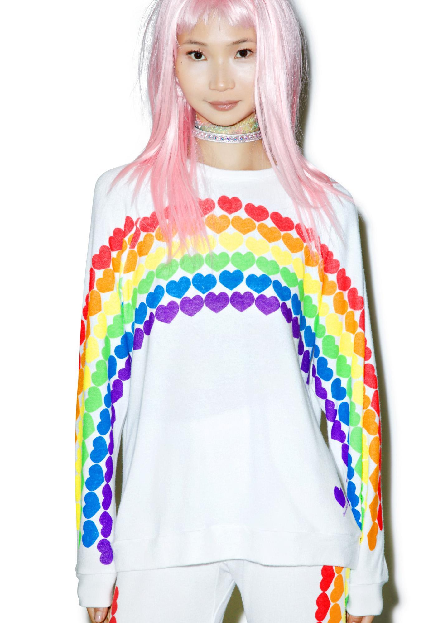 Lauren Moshi Lovie Rainbow Heart Boyfriend Sweatshirt