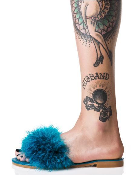 Turquoise Furrever Fluffy Slides